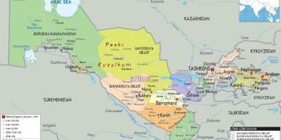Usbekistan Kort Kort Usbekistan Centralasien Asien